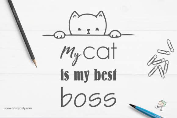 Print on Demand: My Cat is My Best Boss Illustration Graphic Illustrations By artsbynaty