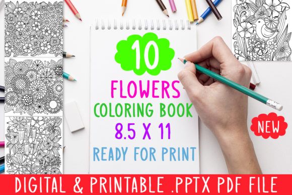 Print on Demand: 10 Flowers Coloring Book for Adults Graphic Coloring Pages & Books Adults By DesignsBundles