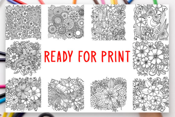 Print on Demand: 10 Flowers Coloring Book for Adults Graphic Coloring Pages & Books Adults By DesignsBundles - Image 2