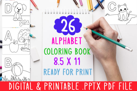 Print on Demand: New 26 Alphabet Coloring Book for Kids Graphic Coloring Pages & Books Kids By DesignsBundles