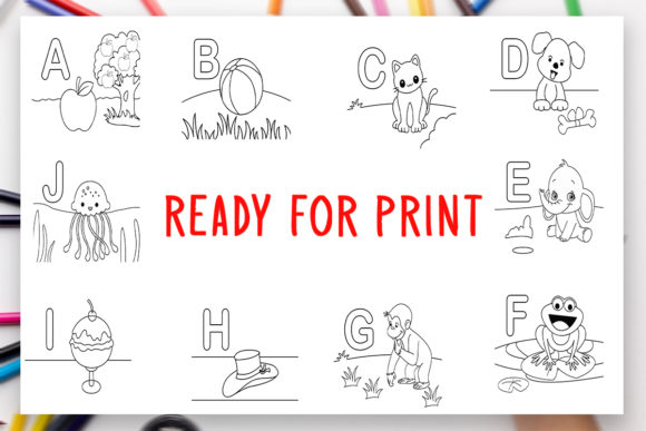 Print on Demand: New 26 Alphabet Coloring Book for Kids Graphic Coloring Pages & Books Kids By DesignsBundles - Image 2