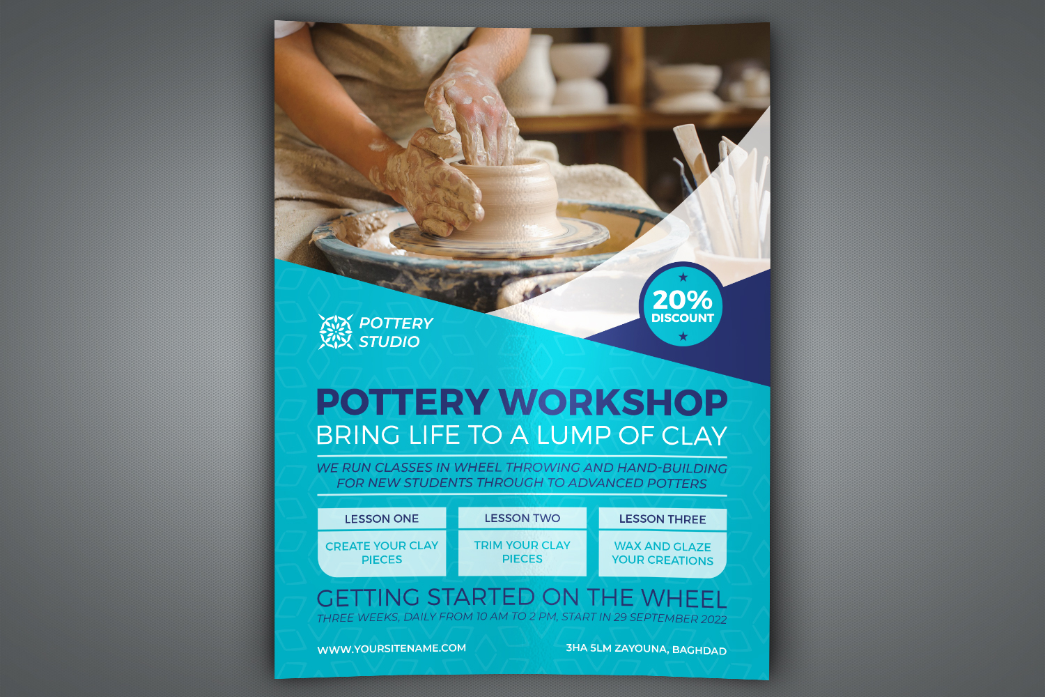 Download Free Pottery Workshop Flyer Template Graphic By Owpictures Creative for Cricut Explore, Silhouette and other cutting machines.