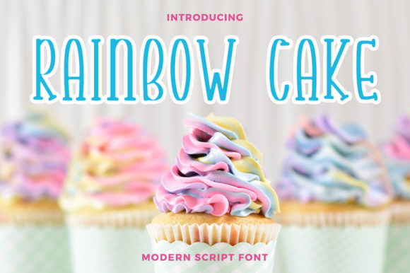Print on Demand: Rainbow Cake Script & Handwritten Font By rangkaiaksara