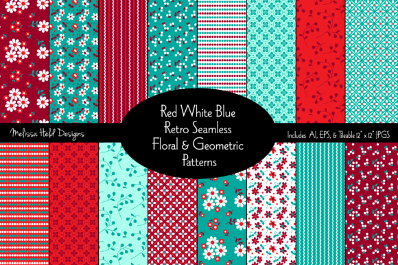 Red White Blue Seamless Retro Floral Patterns Graphic Patterns By Melissa Held Designs