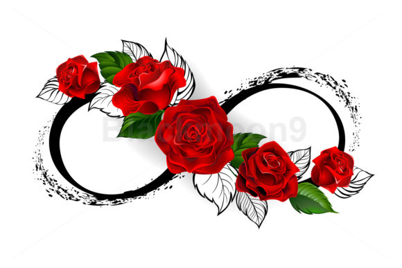 Infinity Symbol with Red Roses Graphic Illustrations By Blackmoon9