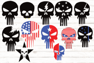 Print on Demand: Skull Head American Flag Bundle Graphic Illustrations By rayan