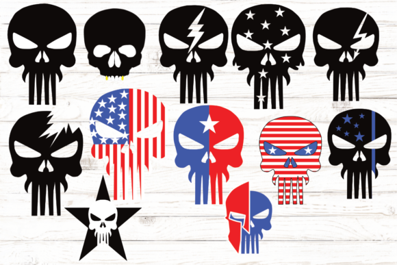 Skull Head American Flag Bundle Graphic Illustrations By rayan