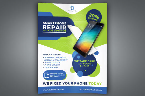Print on Demand: Smartphone Repair Service Flyer Template Graphic Print Templates By OWPictures