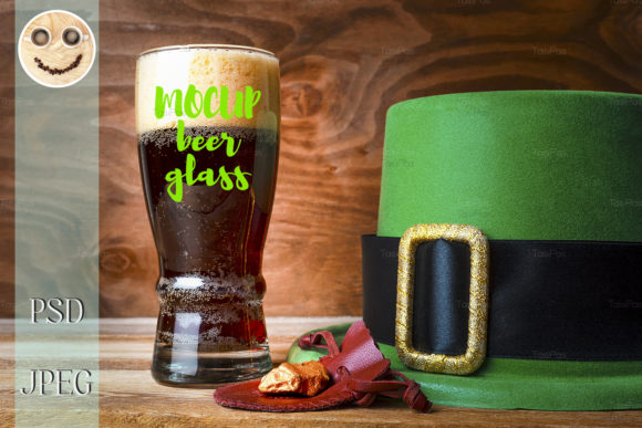 Print on Demand: St.Patrick Green Hat Beer Glass Graphic Product Mockups By TasiPas