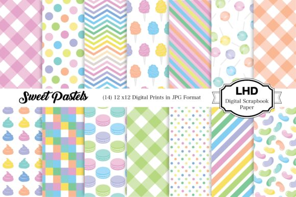 Sweet Pastels - Digital Paper Pack Graphic Patterns By LeskaHamatyDesign