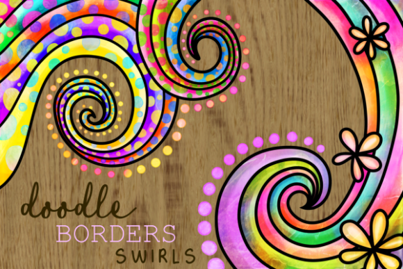 Print on Demand: Swirly Doodle Watercolor Ink Borders Graphic Backgrounds By Prawny - Image 1