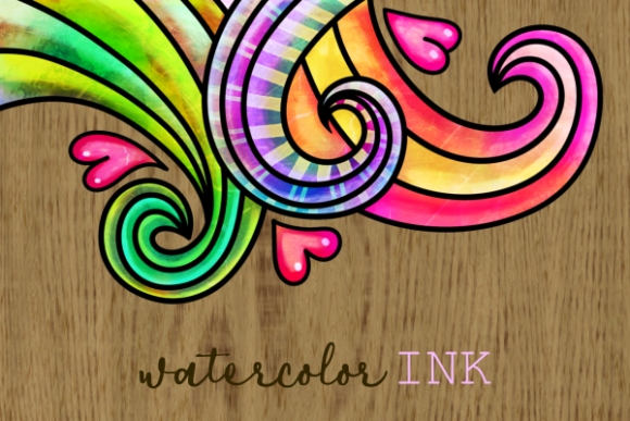 Print on Demand: Swirly Doodle Watercolor Ink Borders Graphic Backgrounds By Prawny - Image 2