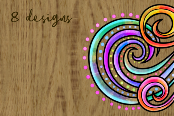 Print on Demand: Swirly Doodle Watercolor Ink Borders Graphic Backgrounds By Prawny - Image 5