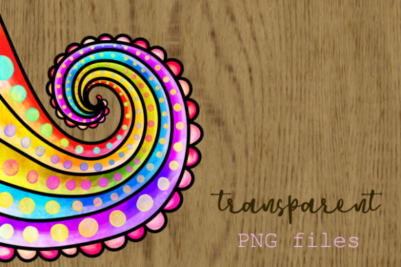 Print on Demand: Swirly Doodle Watercolor Ink Borders Graphic Backgrounds By Prawny - Image 7