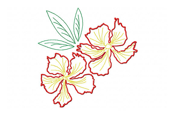 Two Red Flowers with Green Leaves Embroidery