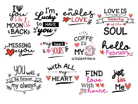 Print on Demand: Valentine Love Quotes  Pack Graphic Print Templates By wienscollection