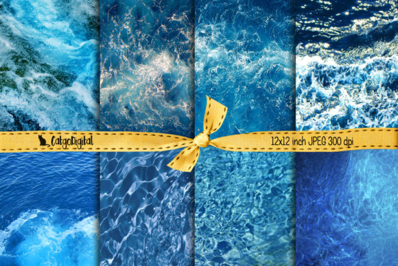 Print on Demand: Water Texture Printable Background Paper Graphic Textures By CatgoDigital