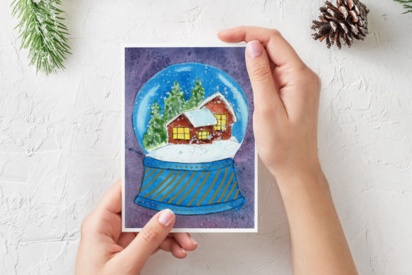 Print on Demand: Watercolor Christmas Card. Snow Globe Graphic Illustrations By s.yanyeva
