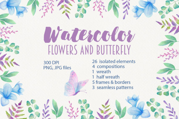 Watercolor Flowers and Butterfly Graphic Illustrations By yasneva