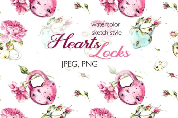 Watercolor Locks-Hearts and Pink Roses Graphic Illustrations By Мария Кутузова