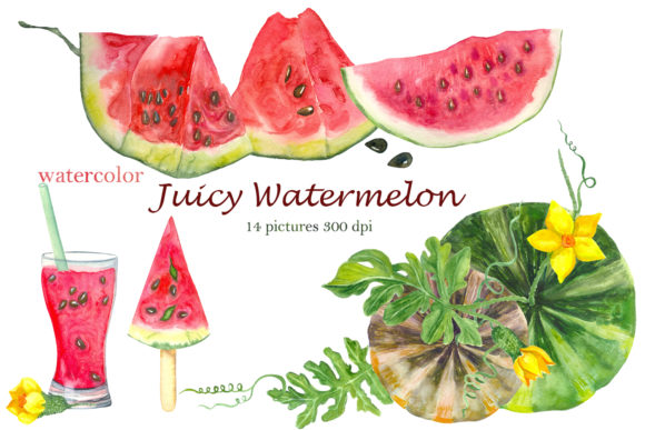 Print on Demand: Watercolor Pink Watermelon Summer Clipart Graphic Illustrations By ElenaZlataArt