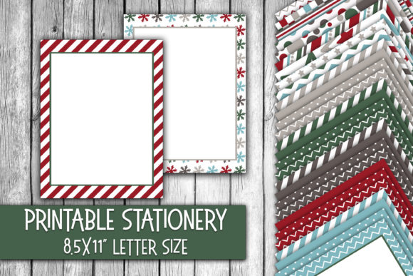 Print on Demand: Winter Colors Christmas Stationery Paper Graphic Backgrounds By oldmarketdesigns