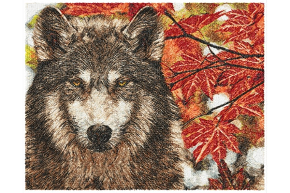 Wolf Wilde Tiere Stickdesign von ImilovaCreations