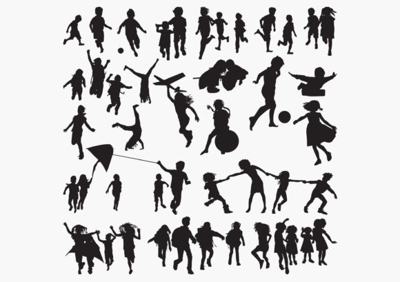 Children-playing-outside Silhouettes Graphic Graphic Templates By octopusgraphic