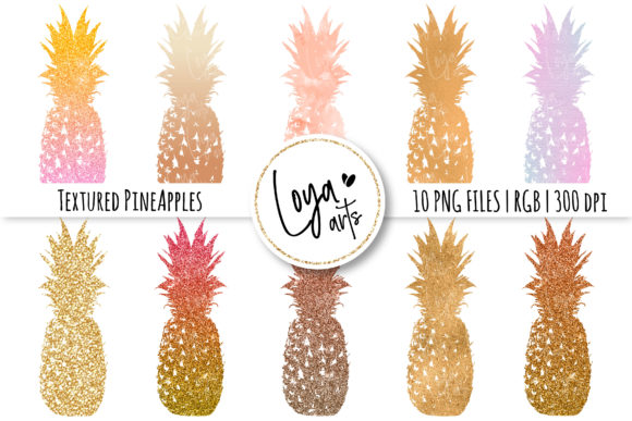Print on Demand: Textured Pineapples Clipart Set Graphic Illustrations By loyaarts