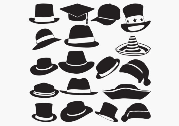 Different Hats Silhouettes Graphic Crafts By octopusgraphic