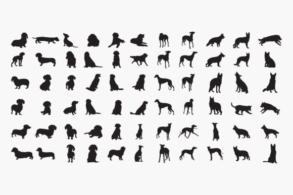 Dogs Silhouettes Graphic Crafts By octopusgraphic