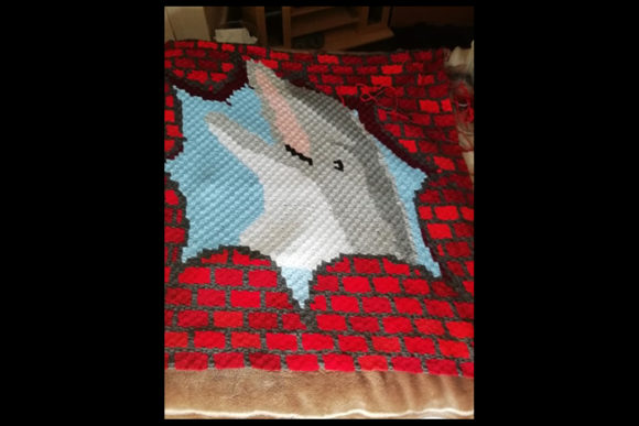 Hole in Wall, Dolphin C2c Pattern Throw Graphic Crochet Patterns By Katrina Oldham