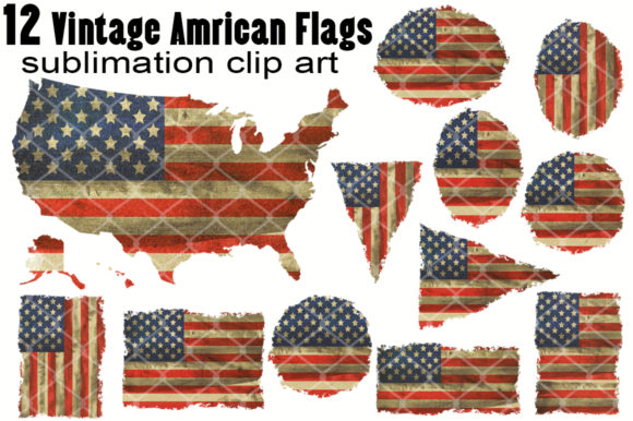 12 Vintage Retro US Flag Sublimation Graphic Crafts By V-Design Creator