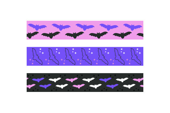 Halloween Bats Ribbons Cut File