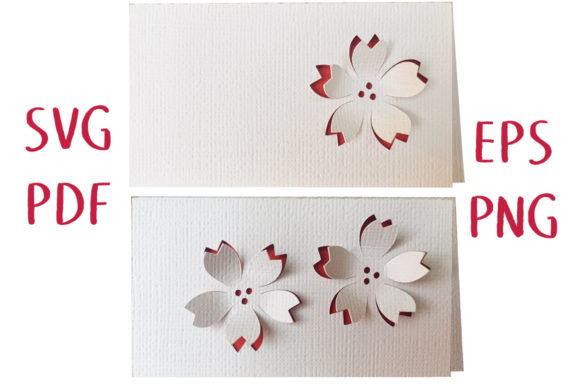Print on Demand: 3D Cherry Blossom Place Card Graphic 3D SVG By Nic Squirrell
