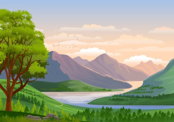 4 Illustration Background - Nature Lands Graphic Backgrounds By americodealmeida
