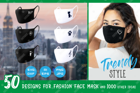 50 Trendy Fashion Designs for Face Mask Graphic Crafts By Natariis Studio