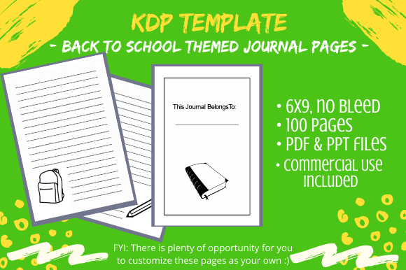 Print on Demand: Back to School Themed Kids Journal Graphic KDP Interiors By Tomboy Designs