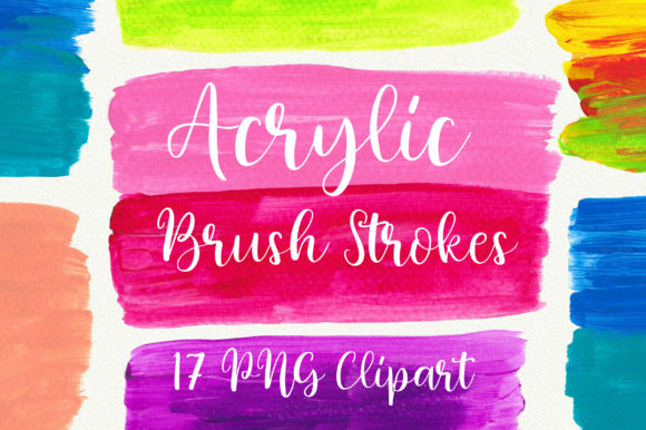 Acrylic Brush Strokes Clip Art Graphic Backgrounds By PinkPearly