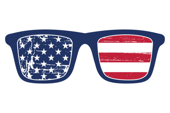 Print on Demand: American Flag Blue Frame Sunglasses Graphic Logos By SunandMoon