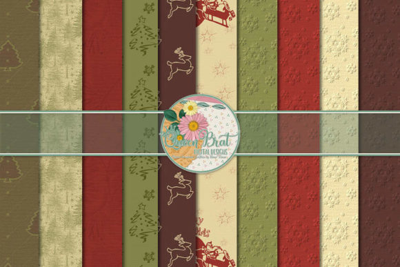 Print on Demand: An Old Fashioned Christmas Papers Graphic Backgrounds By QueenBrat Digital Designs