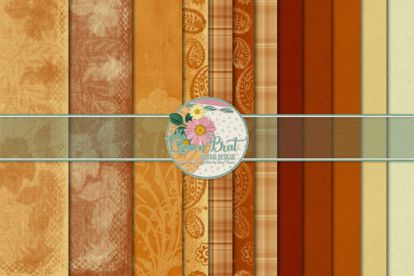 Print on Demand: Autumn Burning Papers Graphic Backgrounds By QueenBrat Digital Designs