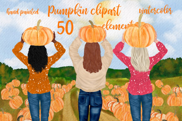 Autumn Clipart Pumpkin Patch Fall  Grafik Illustrationen von LeCoqDesign
