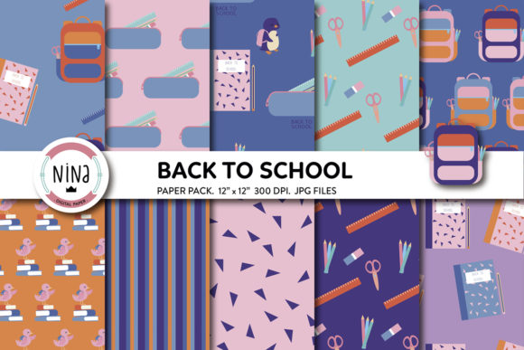 Back to School Digital Paper, Teacher Graphic Patterns By Nina Prints