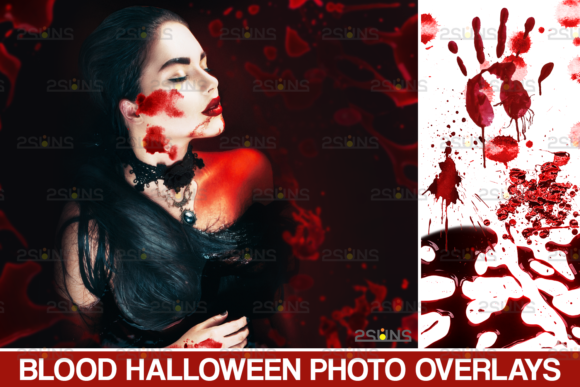 Blood Photo Overlay, Halloween Overlay Gráfico Acciones y Pre-ajustes Por 2SUNS