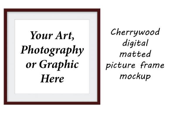 Print on Demand: Cherrywood Digital Matted Picture Frame Graphic Product Mockups By A Design in Time