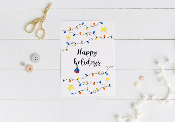 Christmas Lights Card. Printable Graphic Illustrations By RedDotsHouse