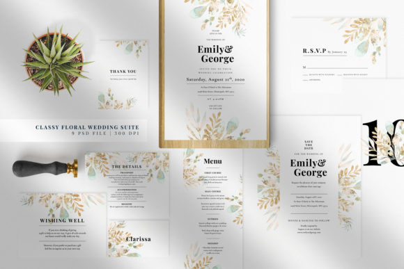 Classy Floral Wedding Suite Graphic Print Templates By Azka Creative