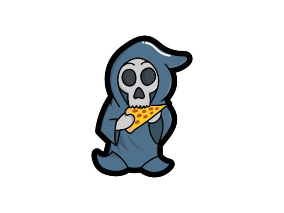 Print on Demand: Cute Grim Reaper is Eating Pizza Graphic Illustrations By firdausm601