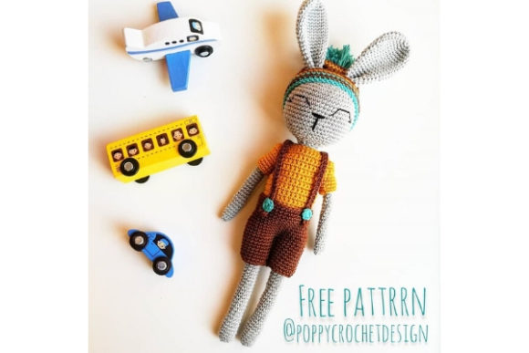Cute Little Bunny Boy Crochet Pattern Grafik Häkeln von Needle Craft Patterns Freebies